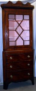 042169 ENGLISH MAHOGANY CORNER CUPBOARD C1800 H 54