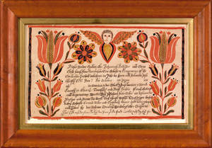 Berks County Pennsylvania ink and watercolor fraktur dated 1795