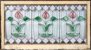 010179 LEADED STAINED GLASS WINDOW C1910 H19 L395