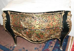 052249 LOUIS XV STYLE MARBLE TOP COMMODE H 33 12