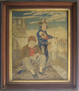 Victorian needlework of 2 young boys