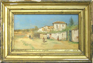 Spanish oil on panel country landscape