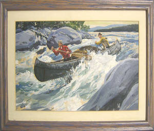 Oil on panel river scene