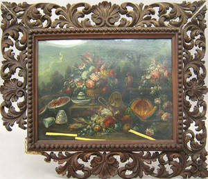 Pair of Continental oil on panel still lifes