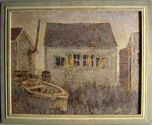 Oil on board of a fishing shack