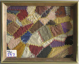 Two framed crazy quilt fragments
