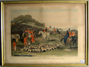 Hand colored fox hunt engraving