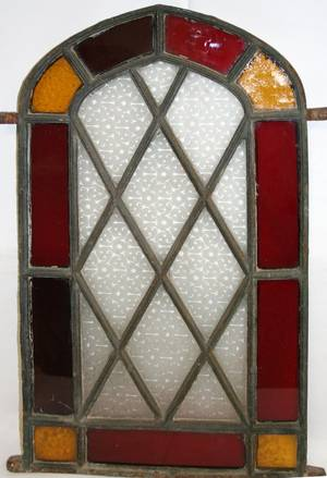 030303 ANTIQUE ARCHED STAINED GLASS WINDOW