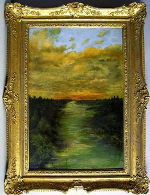 Oil on board sunset landscape