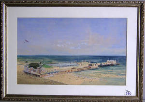 Mixed media scene of the Steel Pier