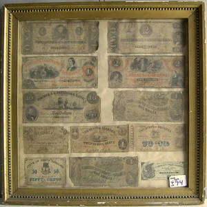 Group of framed confederate paper currency