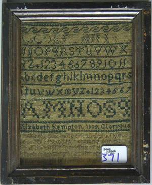 Silk on linen sampler dated 1802