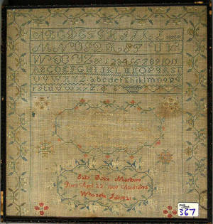 Silk on linen sampler dated 1821