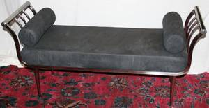 011378 ART DECO STYLE CHROME  SUEDE BENCH W535