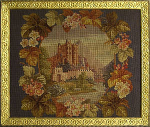 Needlework picture of a castle
