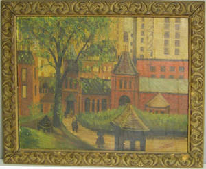 Oil on board street scene