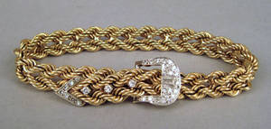 Double rope link 14K yellow gold bracelet
