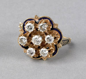 Diamond and enameled 14K yellow gold ring