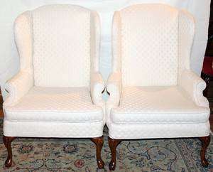 031384 WHITE UPHOLSTERED WING BACK CHAIRS PAIR