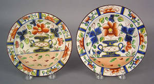 Two Gaudy Dutch urn plates 19th c