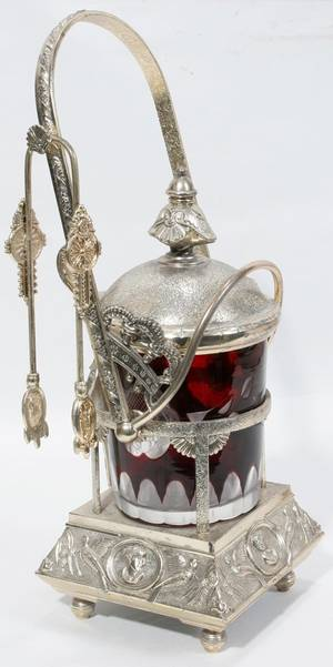 031354 VICTORIAN SILVERPLATE  RUBY PICKLE CASTER