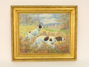 Amer 20th C Hunting Dogs Oil Signed