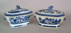 Two Chinese export Canton covered tureens 19th c