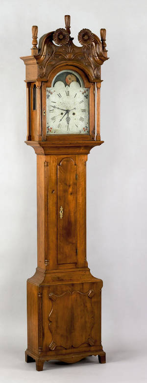 Lancaster County Pennsylvania Chippendale walnut tall case clock ca 1795