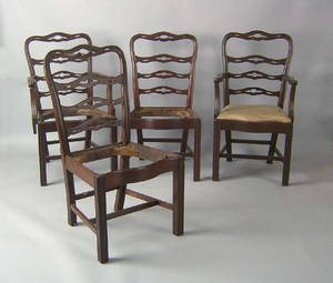 Set of 4 Philadelphia Chippendale mahogany ribbonback dining chairs ca 1780