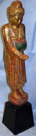 012276 BURMESE GILT  RED LACQUER STANDING BUDDHA
