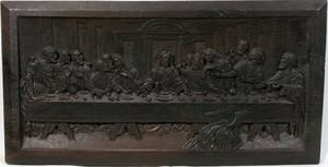 011438 CONTINENTAL OAK RELIEF PLAQUE THE LAST SUPPER