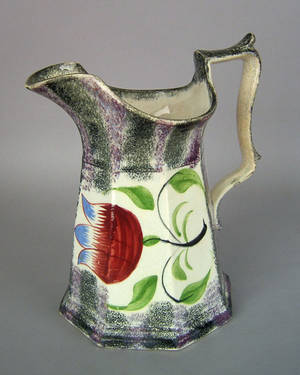 Purple and black rainbow spatter pitcher