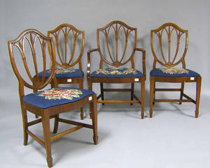 Set of 5 Hepplewhite style chairs Provenance The Estate of Anne Brossman Sweigart