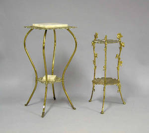 Two gilt metal stands