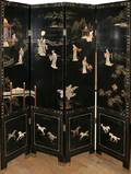 042290 CHINESE FOUR PANEL SCREEN W HARDSTONE H 72