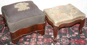 041378 EMPIRE MAHOGANY OTTOMAN  WALNUT FOOTSTOOL