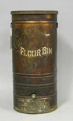 Stenciled tin Flour Bin