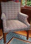 031401 CHIPPENDALE STYLE MAHOGANY UPHOLSTERED CHAIR
