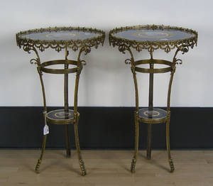 Pair of contemporary painted porcelain and gilt end tables