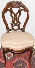 011488 VICTORIAN CARVED MAHOGANY  UPHOLSTERED CHAIR