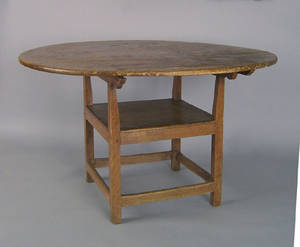 New England pine and maple chair table late 18th c