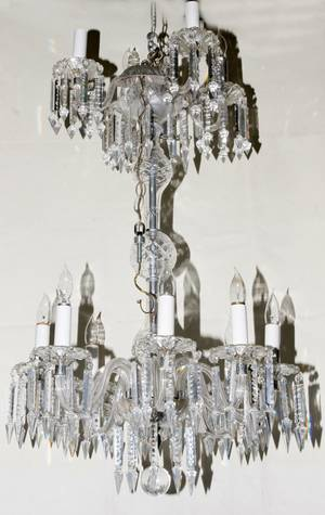052370 CRYSTAL CHANDELIER TWO TIER H 36 DIA 16