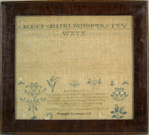 American silk on linen sampler dated 1835 wrought by Sarah S Squiers