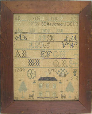 Pennsylvania silk on linen sampler wrought by S Missemer 1831