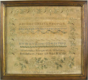 Bethlehem Pennsylvania silk on linen sampler dated 1836 wrought by Margaret A Wathen