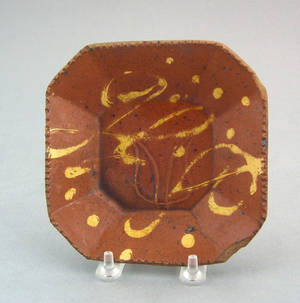 Redware octagonal plate 19th c