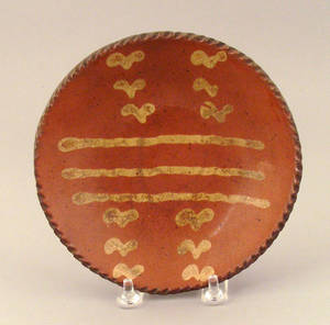 Redware pie plate 19th c
