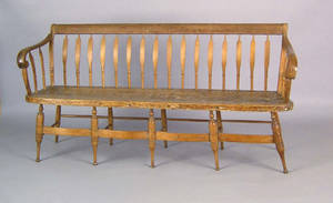 Pennsylvania arrowback settee ca 1830