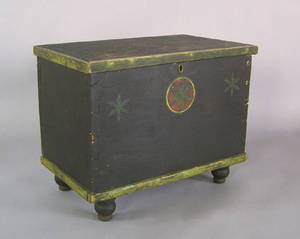 Pennsylvania pine miniature blanket chest mid 19th c