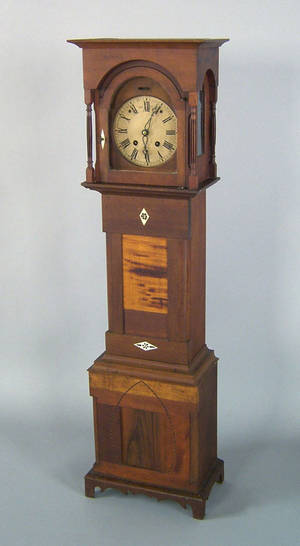 Pennsylvania Victorian cherry and walnut dwarf clock late 19th c